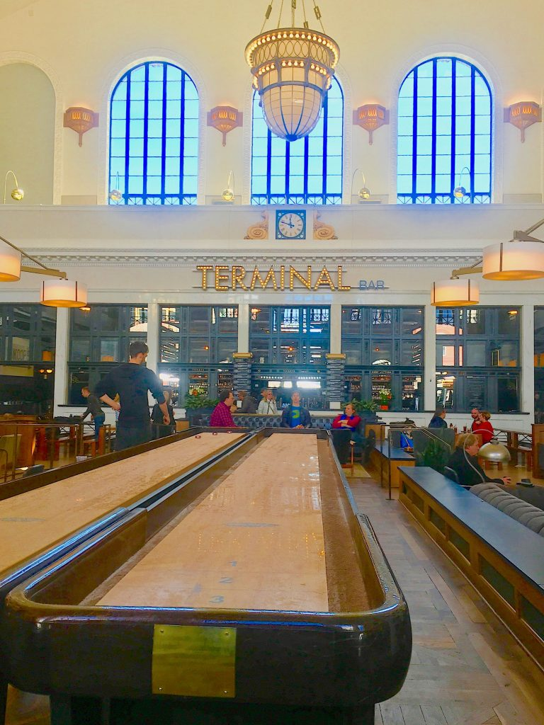 Shuffleboard inside Union Station